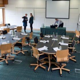 people planning meeting room layout