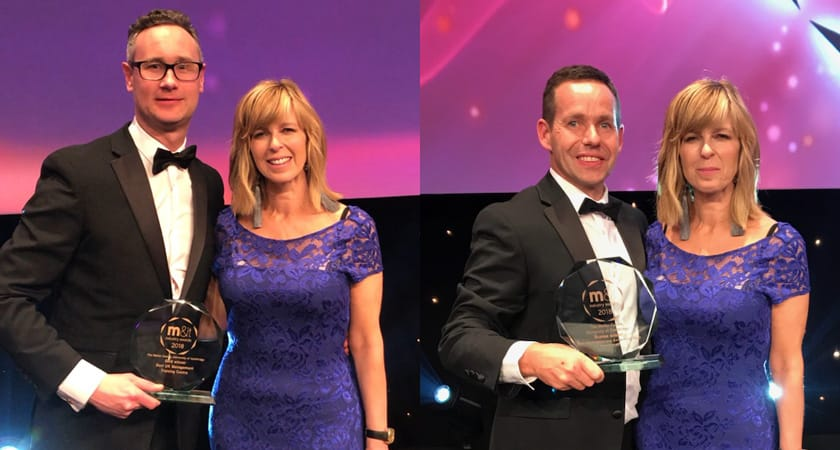 Pictures of Stefan and Darren from the Møller Centre with Kate Carraway at the M&IT Awards 2018