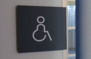 Picture of an accessibility sign at Moller Institute