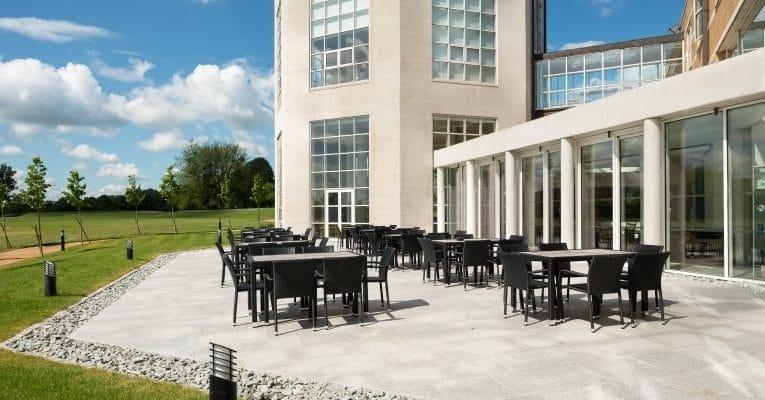 Hans J Wegner Lounge patio outside Moller Institute