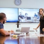 video conferencing in meeting room