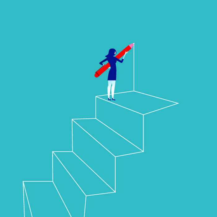 Businesswoman drawing outline of steps with pen. Concept business vector illustration.