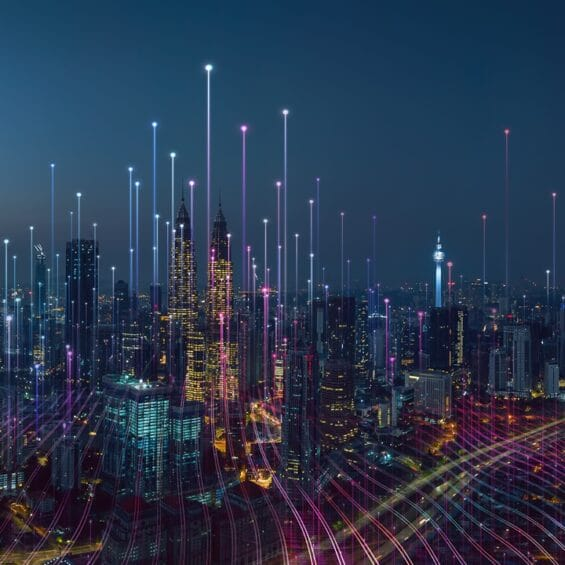 Picture of city skyline at night
