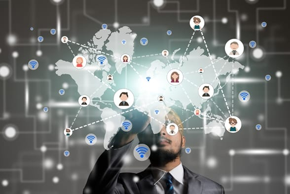 Picture showing virtual global teams working