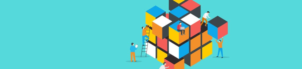 Picture of people building a cube