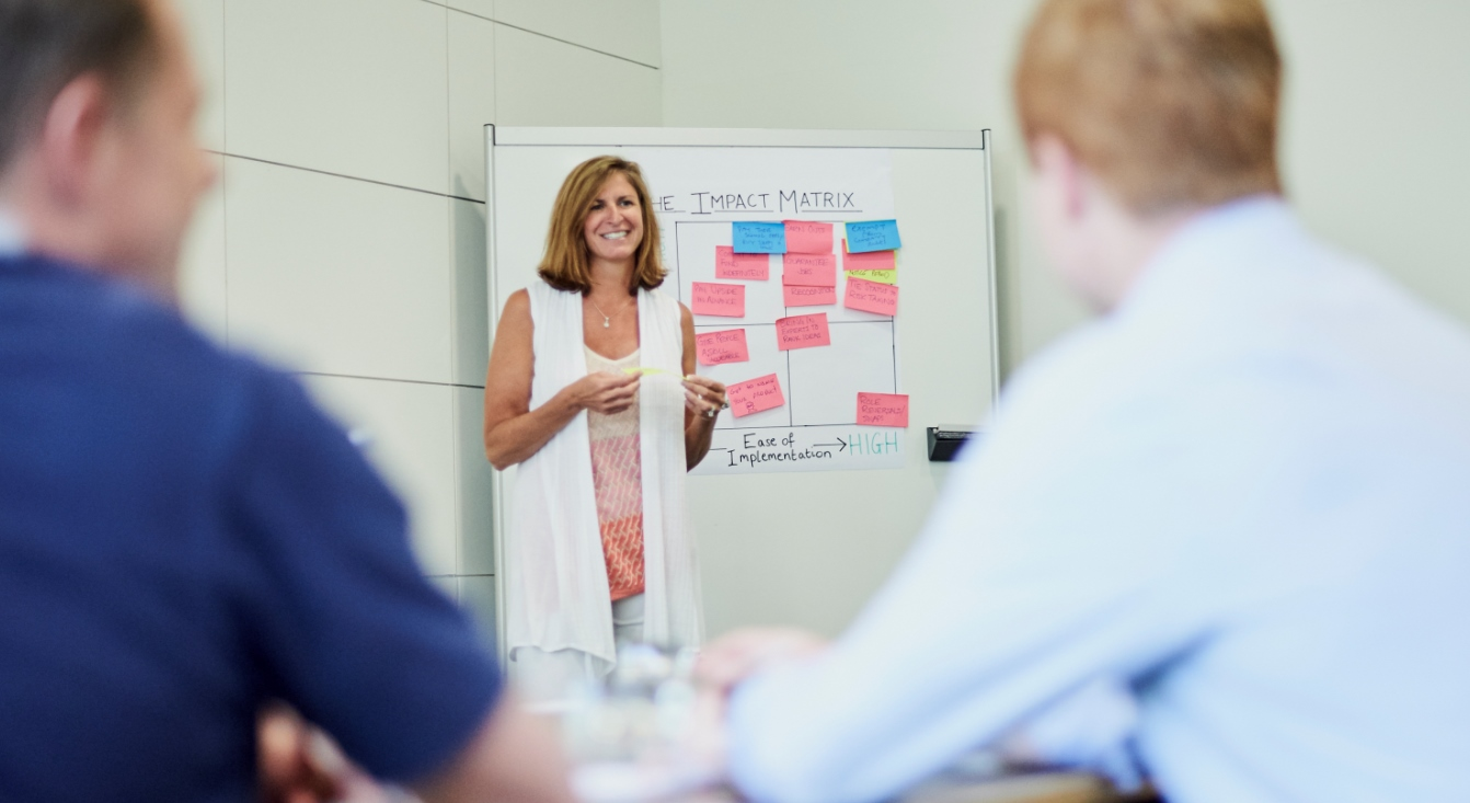 Picture of a lady educating business executives at a flip-chart