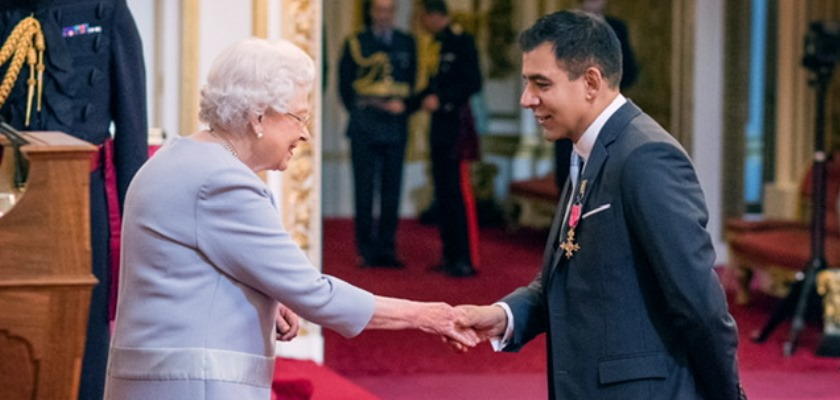 HRH Queen Elizabeth and Krish Raval Moller Accociate